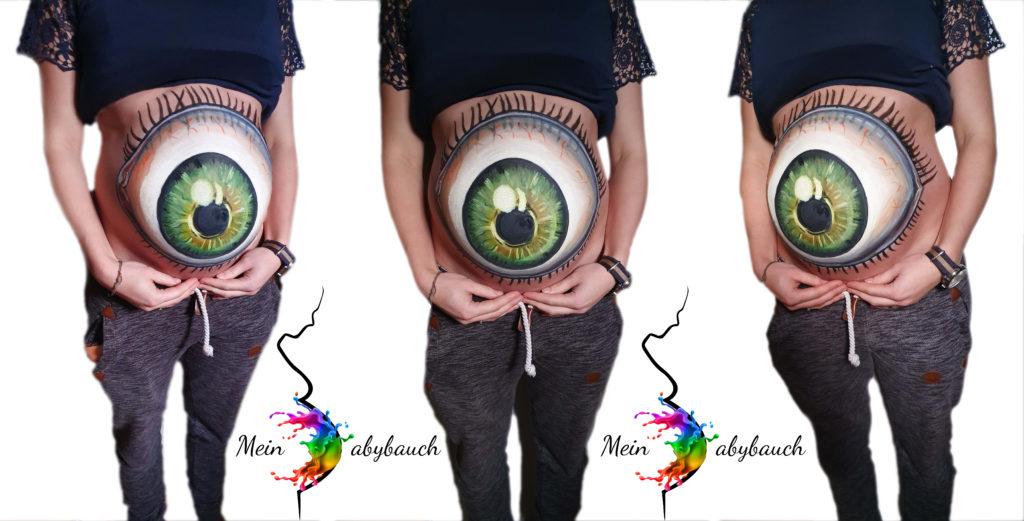 Babybauch bemalen 3D Auge