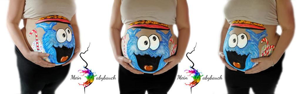 Babybauch bemalen Krümelmonster Junge Schwangerschaft