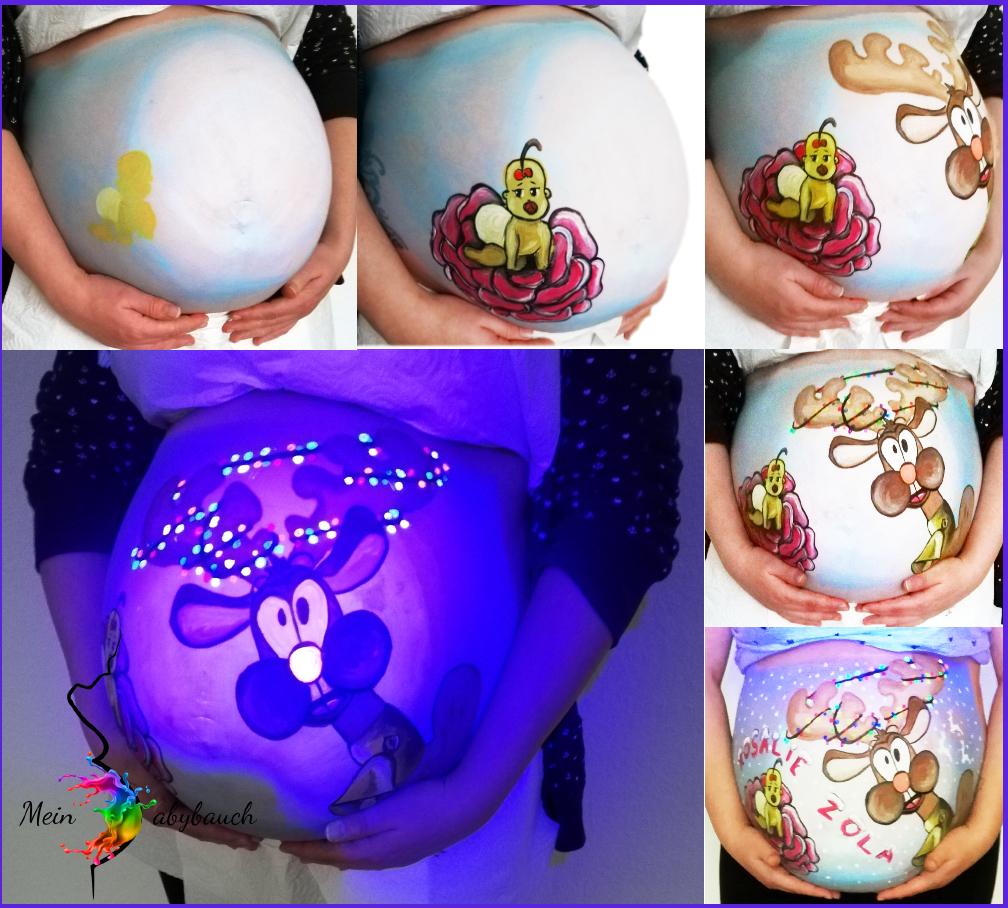 Babybauch bemalen Leuchtfarben Weihnachten Schwangerschaft Rudolph the rednose reindeer