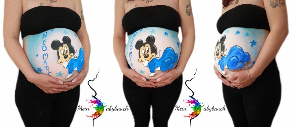 Babybauch bemalen Mickey Maus Mouse Junge Schwangerschaft
